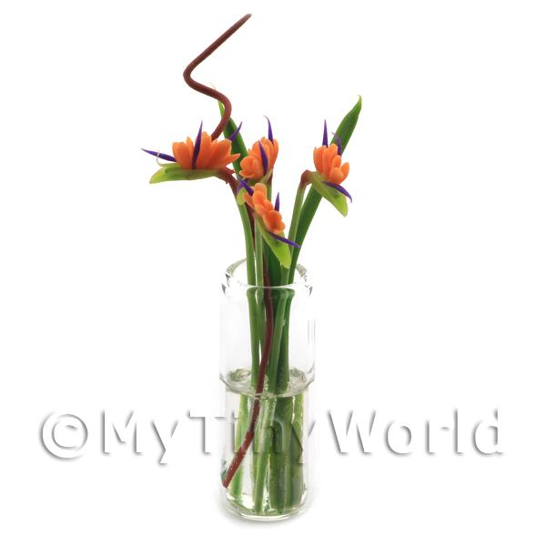 Dolls House Miniature  | 4 Miniature Birds of Paradise in a Glass Vase