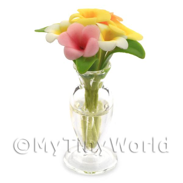 8 Miniature Cut Tropical Plumerias in a Glass Vase