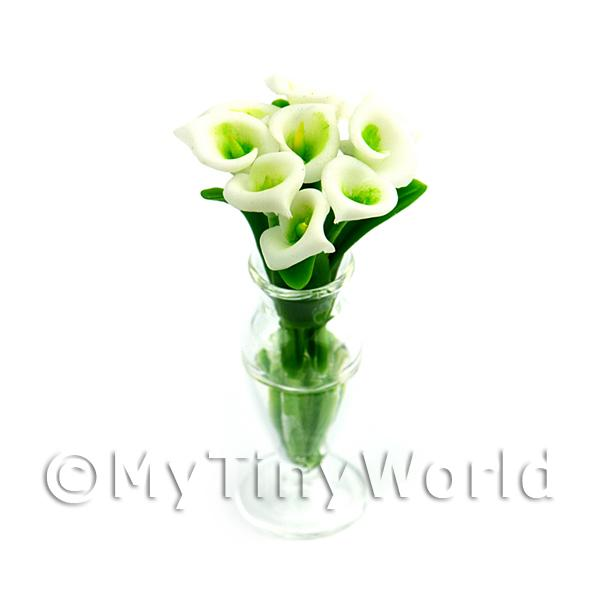 Dolls House Miniature  | 9 Dolls House Miniature Cut Calla Lilies in a Glass Vase