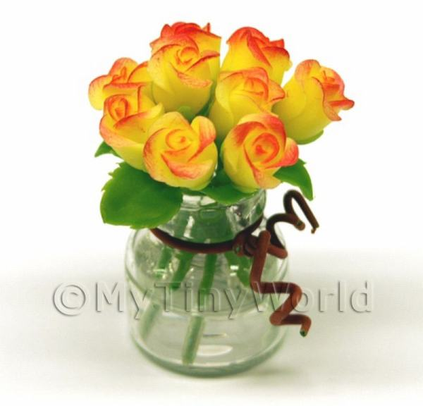 9 Miniature Yellow   Red Roses in a Short Glass Vase