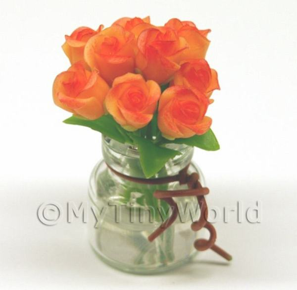 Dolls House Miniature  | 9 Miniature Orange Roses in a Short Glass Vase