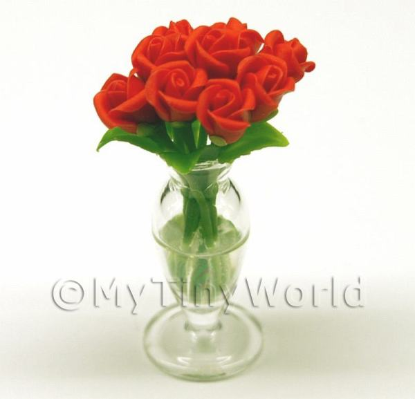 9 Miniature Red Roses in a Glass Vase