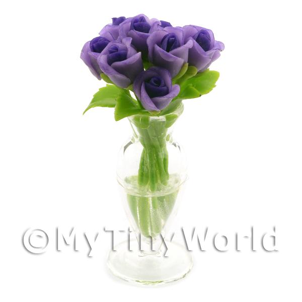 Dolls House Miniature  | 9 Miniature Violet   Purple Roses in a Glass Vase