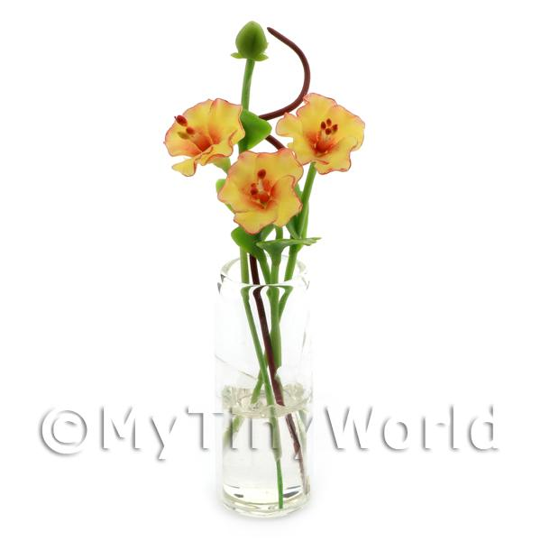 Dolls House Miniature  | 4 Miniature Yellow Cut Flowers in a Glass Vase