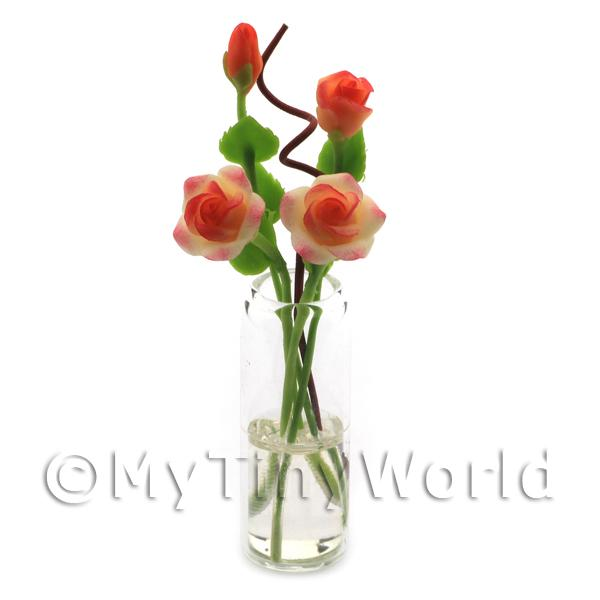 Dolls House Miniature  | 4 Miniature Long Stemmed Orange Roses in a Glass Vase
