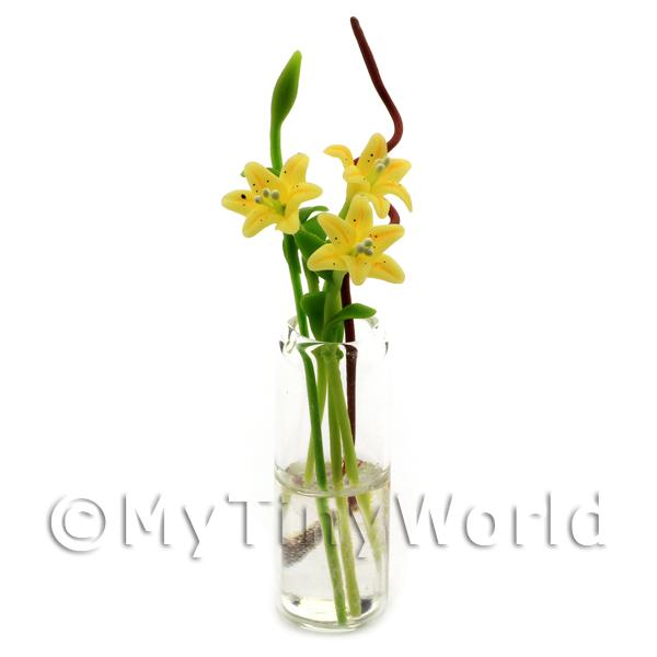 Dolls House Miniature  | 5 Miniature Long Stemmed Yellow Lilies in a Glass Vase