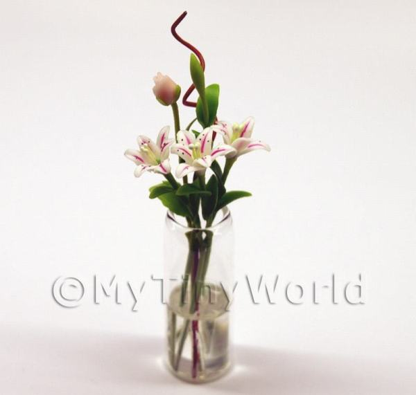 5 Miniature Long Stemmed White   Pink Lilies in a Glass Vase