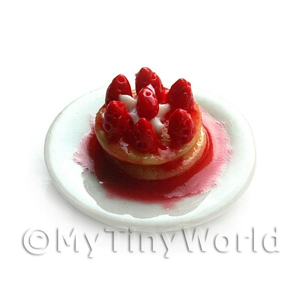 Dolls House Miniature Pancake Tower topped with Strawberries and Syrup