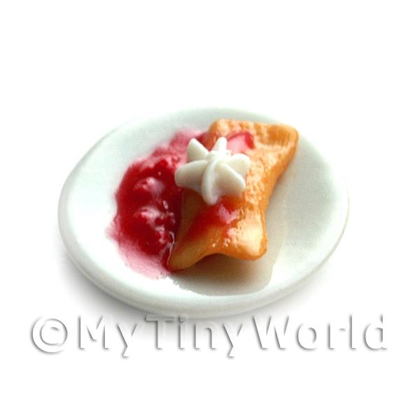 Dolls House Miniature Folded Pancake with Cream Star and Morello Cherries