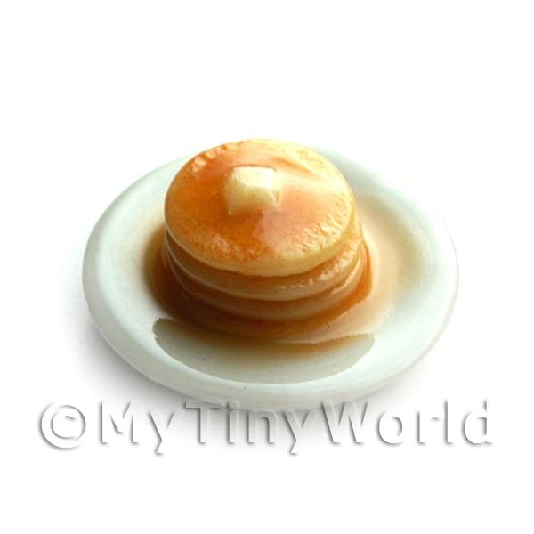 Dolls House Miniature Pancake Stack topped with Syrup and Butter
