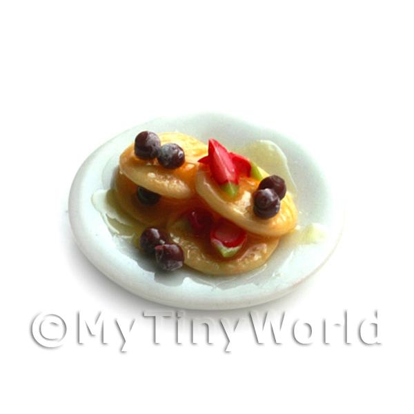 Dolls House Miniature Mixed Berry and Summer Fruit Pancakes