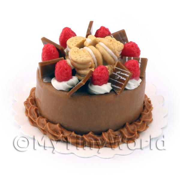 Dolls House Miniature Strawberry Chocolate Cake