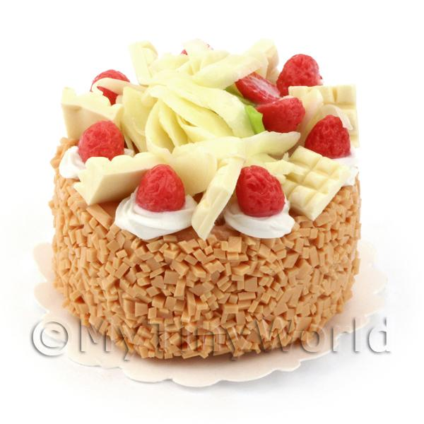 Dolls House Miniature White Chocolate Strawberry Cake