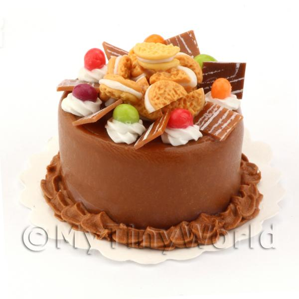 Dolls House Miniature Double Chocolate Cookie Cake