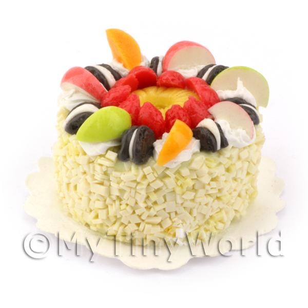 Dolls House Miniature Vanilla Fruit Cookie Cake