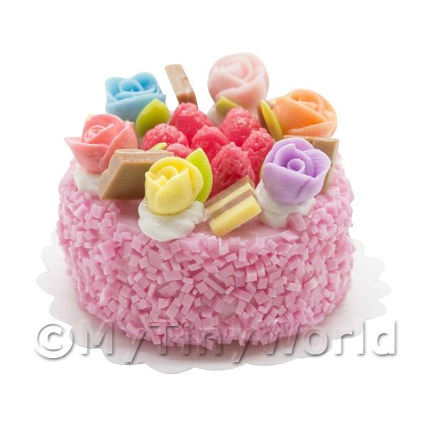 Dolls House Miniature Multi Colored Vanilla Rose Cake