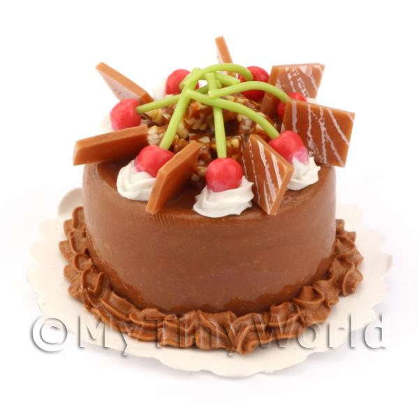 Dolls House Miniature Cakes - Rich Chocolate Cherry Cake