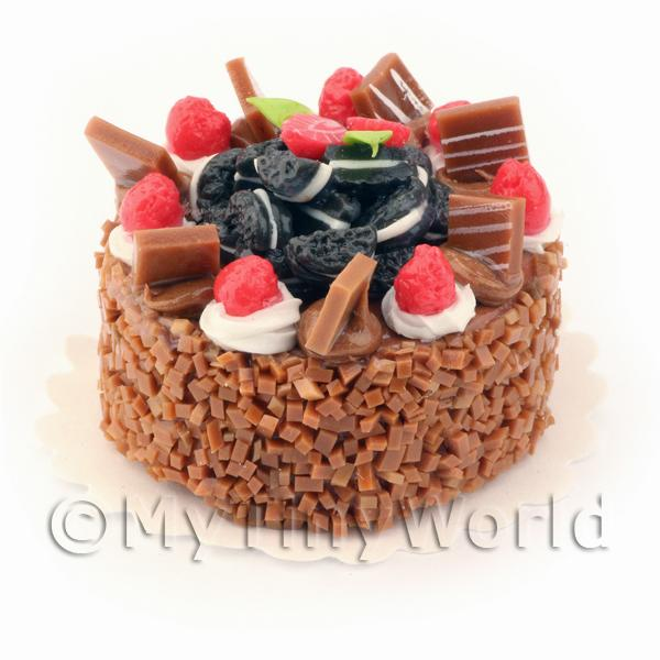 Dolls House Miniature Double Chocolate Oreo Cake