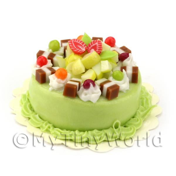 Dolls House Miniature Mixed Fruit Fudge cake