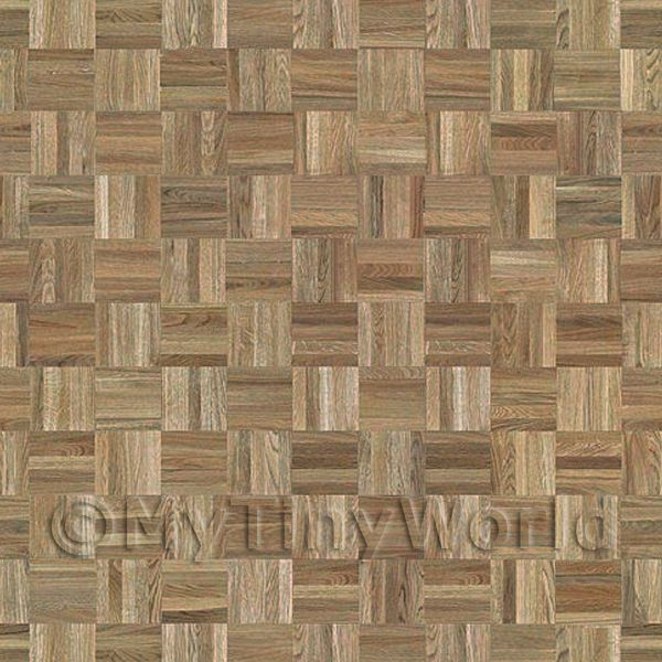 Dolls House Miniature  | Dolls House Miniature Parquet Flooring Pale Cocoa Oak Square Effect