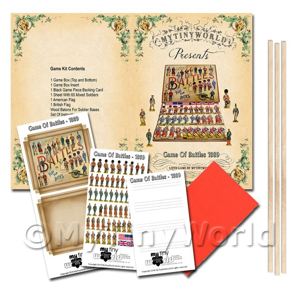 Dolls House Miniature Game of Battles Board Game Kit