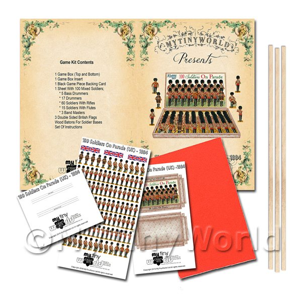 Dolls House Miniature 100 Soldiers On Parade (UK) Board Game Kit