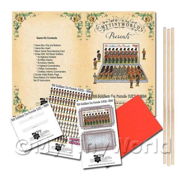 Dolls House Miniature 100 Soldiers On Parade (UK2) Board Game Kit