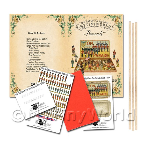 Dolls House Miniature 100 Soldiers On Parade (Mixed) Board Game Kit