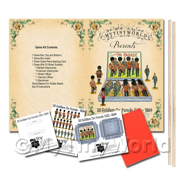 Dolls House Miniature 25 Soldiers On Parade (UK) Board Game Kit