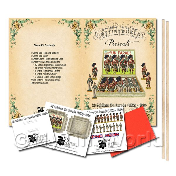 Dolls House Miniature 25 Soldiers On Parade (UK2) Board Game Kit