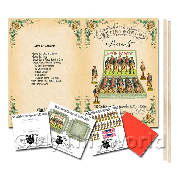 Dolls House Miniature 25 Soldiers On Parade (US) Board Game Kit