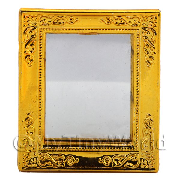 1/12 Scale Dolls House Miniatures  | Dolls House Miniature Gilt-Edged Bright Gold Plastic Mirror