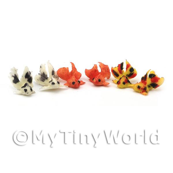 6 Small Dolls House Miniature Chinese Goldfish