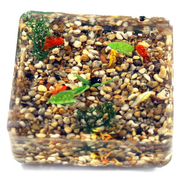 6 Dolls House Miniature Mixed Gold Fish In A Resin Pond