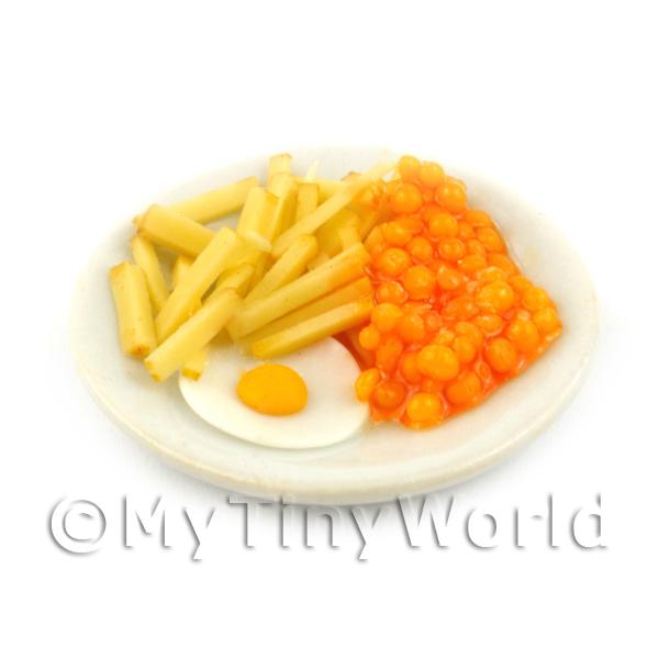 Dolls House Miniature Egg, Beans And Chips Meal