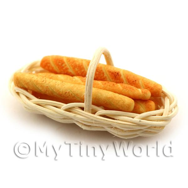 5 Dolls House Miniature Paninis in a Basket
