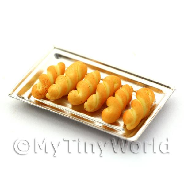 Dolls House Miniature Freshly Baked Bread Twists On A Metal Tray