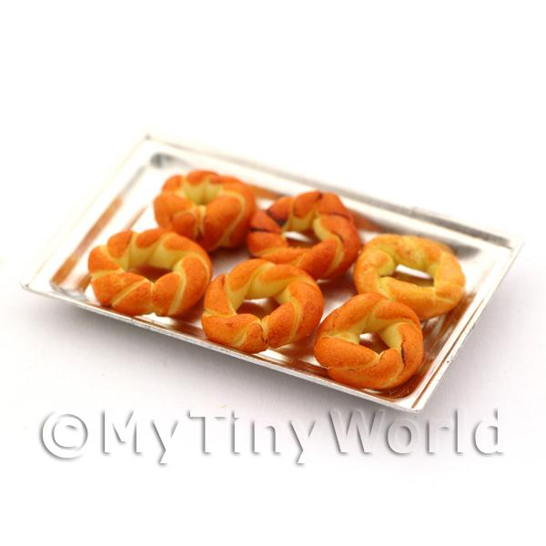 Dolls House Miniature  Round Pastry Twists On A Metal Tray