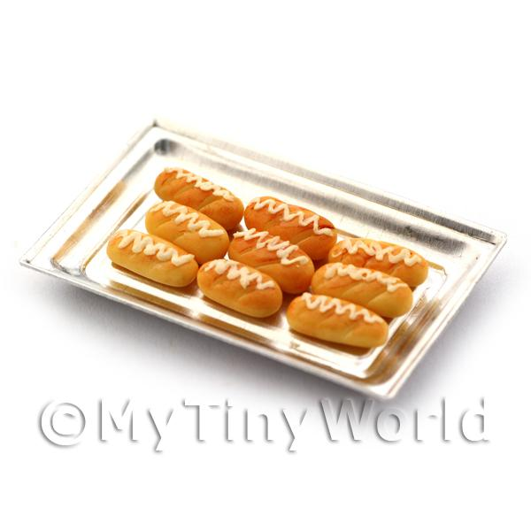Dolls House Miniature  Sweet Iced Buns On A Metal Tray