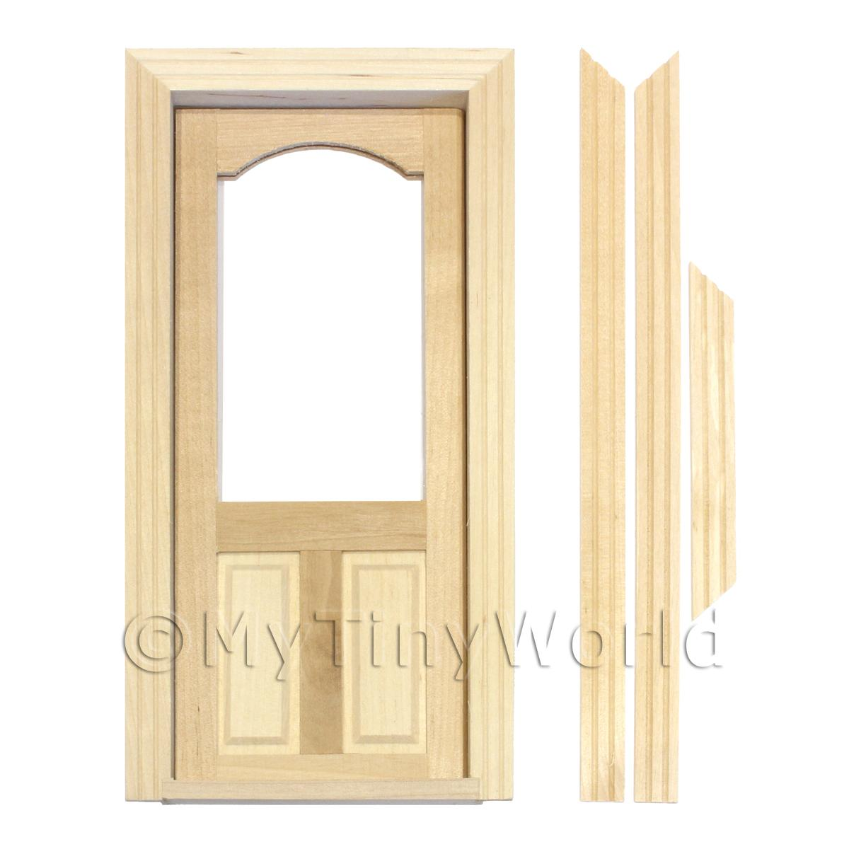 1/12 Scale Dolls House Miniatures  | Dolls House Decorative Wood Door With Glazed Upper Panel