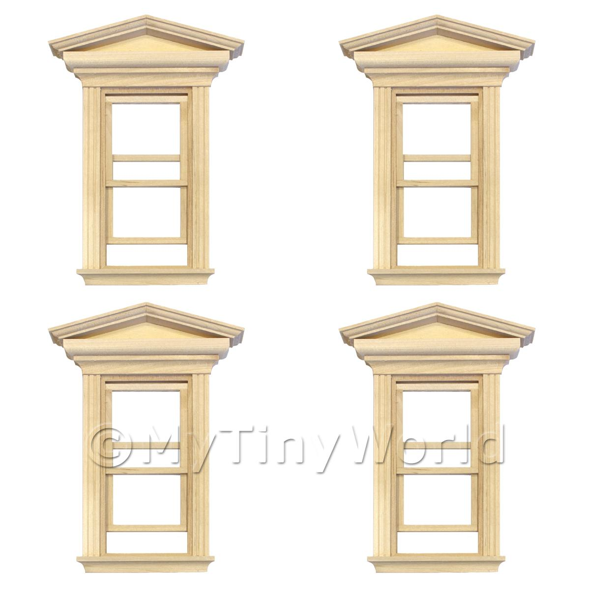 4 x Dolls House Single Opening Sash Window With Pointed Parapet