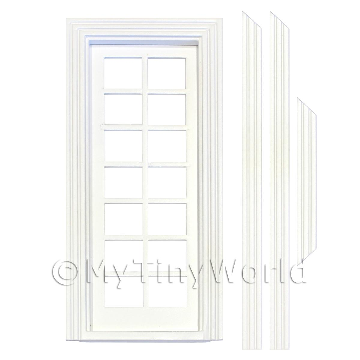 1/12 Scale Dolls House Miniatures  | Dolls House White Painted Internal 14 Pane Glazed Door