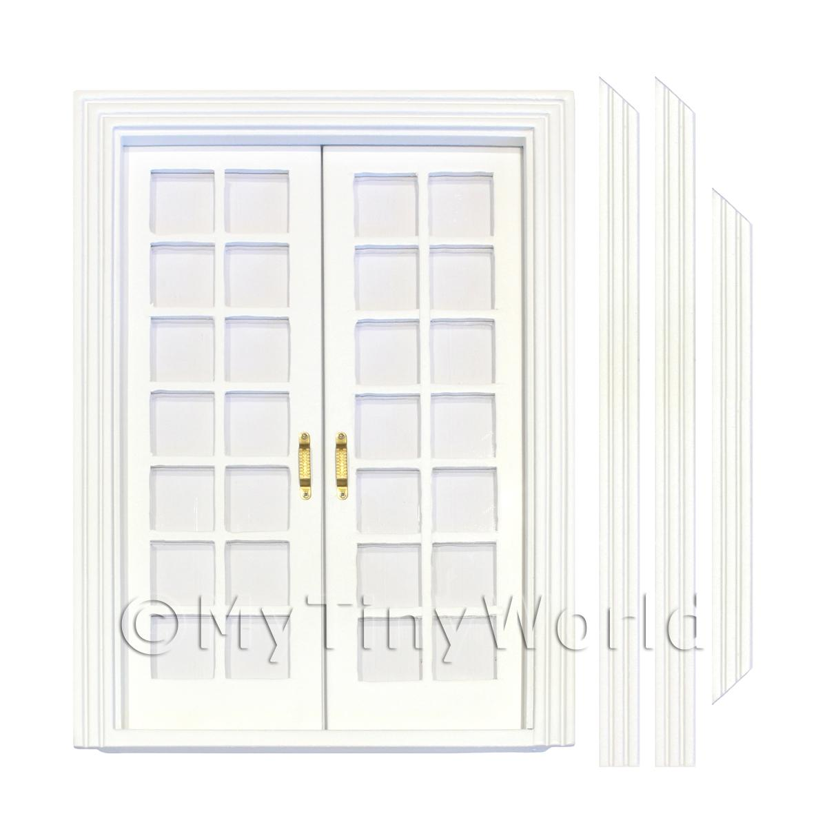 Dolls House White Painted Double Internal 14 Pane Glazed Doors