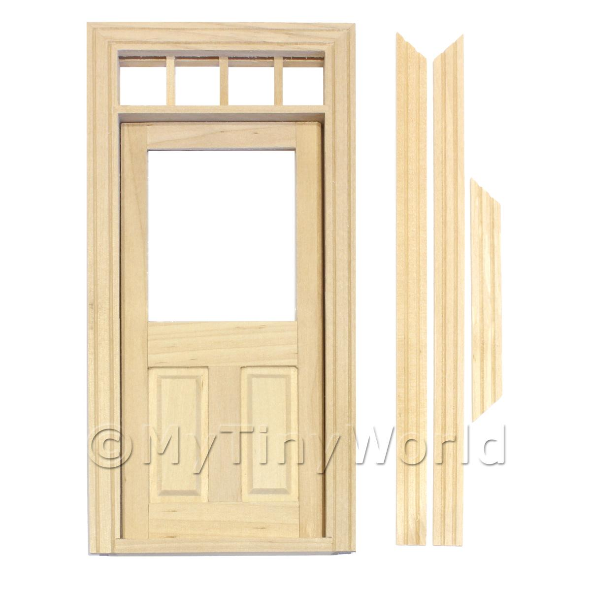 Dolls House Miniature  | Dolls House Decorative Wood Door With Glaze Pane And 4 Open Panes