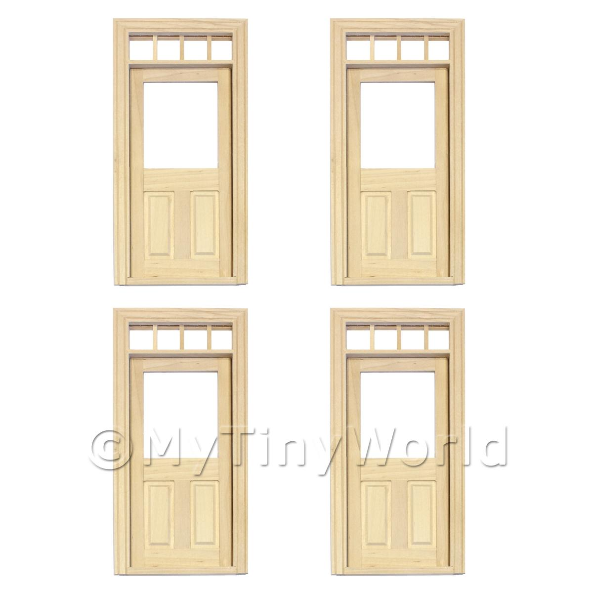 4 x Dolls House Decorative Wood Door With Glazed Pane And 4 Open Panes