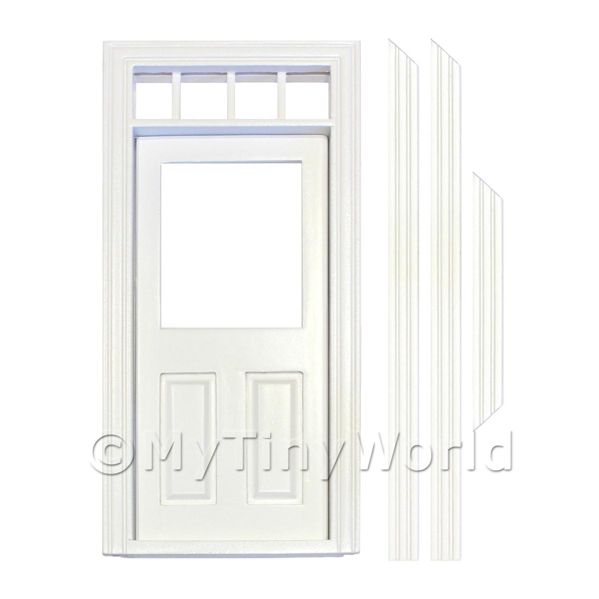 Dolls House Miniature  | Dolls House Decorative White Painted Door With Glaze Pane And 4 Open Panes