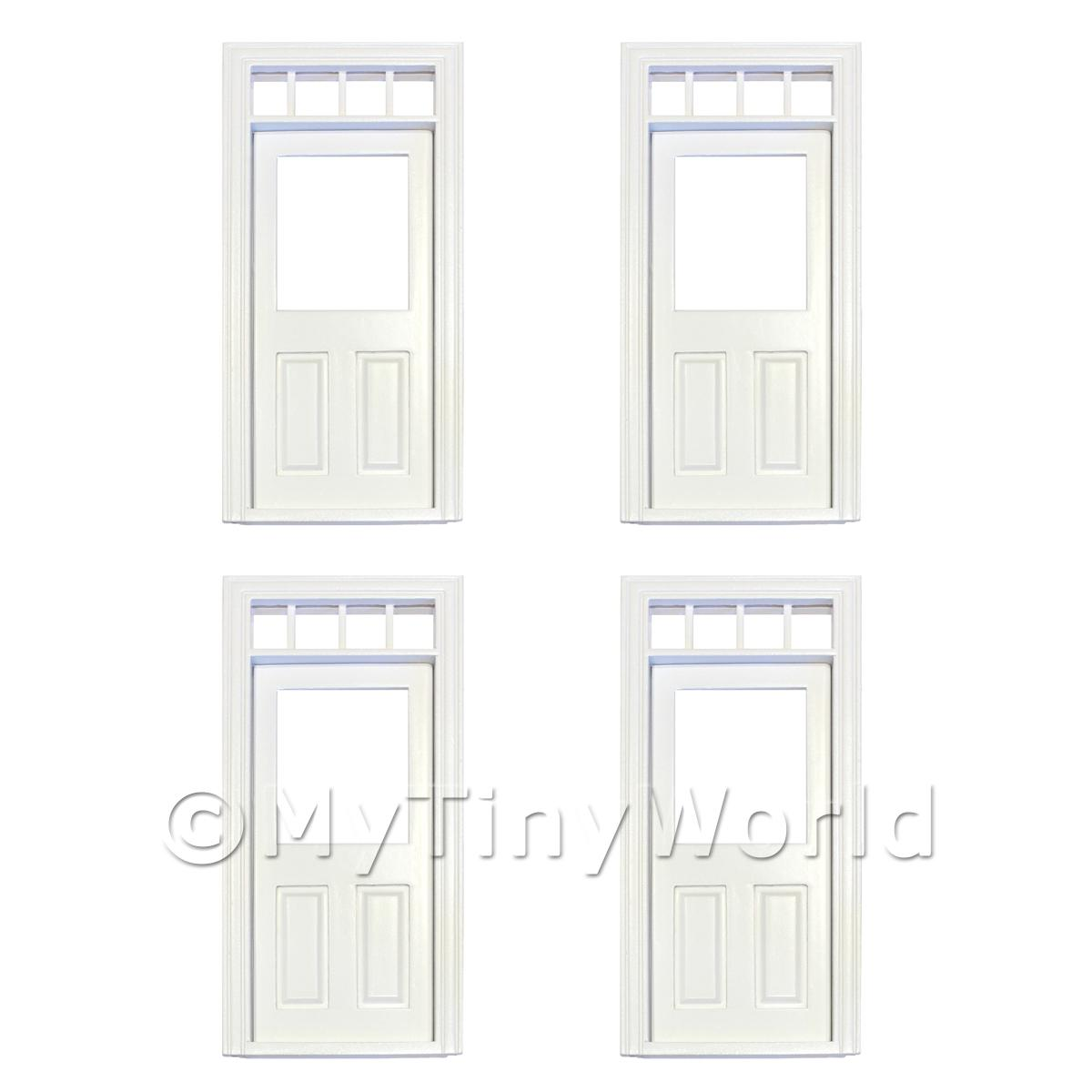 4 x Dolls House Decorative White Door With Glazed Pane And 4 Open Panes