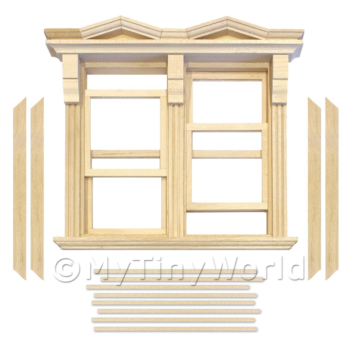 Dolls House Double Opening Sash Window With Small Pointed Parapets