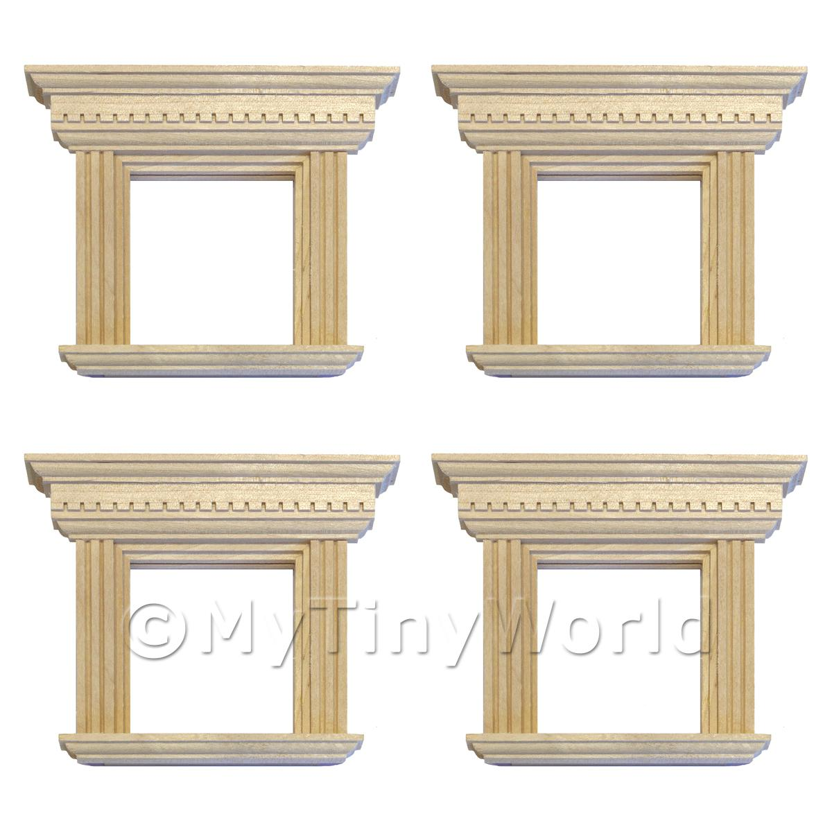4 x Dolls House Square Wood Window With Decorative Frame