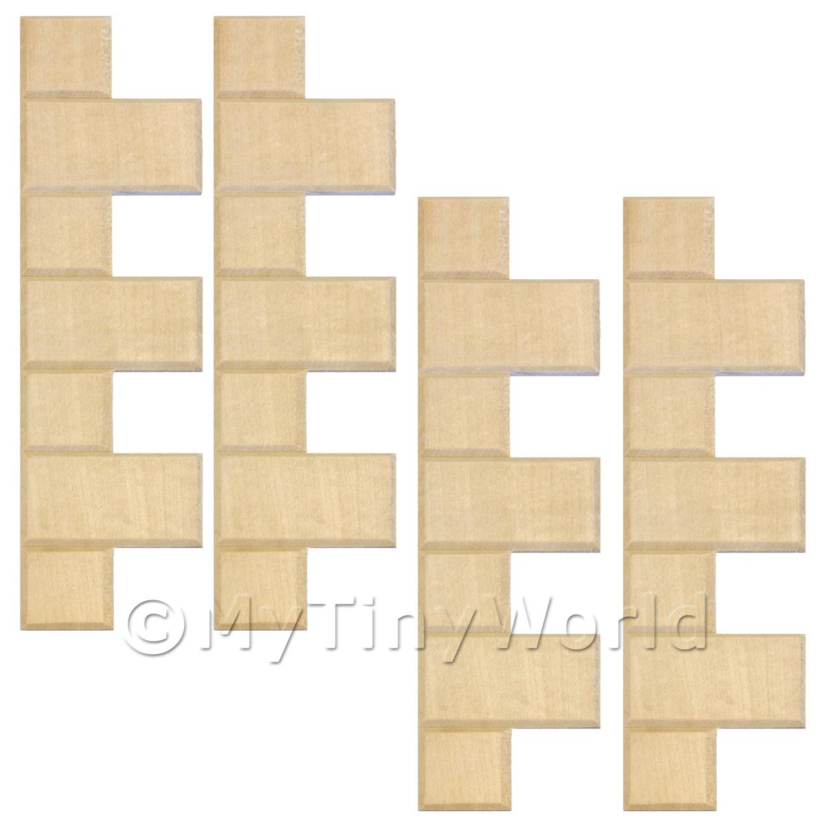 Dolls House Miniature  | 4 x Dolls House Miniature Birch Exernal Quoin Strips
